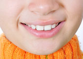 Beautiful young girl teeth. Over white background — Stock Photo