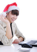 Fantastic, beautiful santa girl on background — Stock Photo