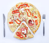 A hot, delicious pizza with hot and bubbly cheese — Stock Photo