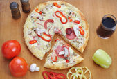 Italian pizza with many colors and ingredients — Stock Photo