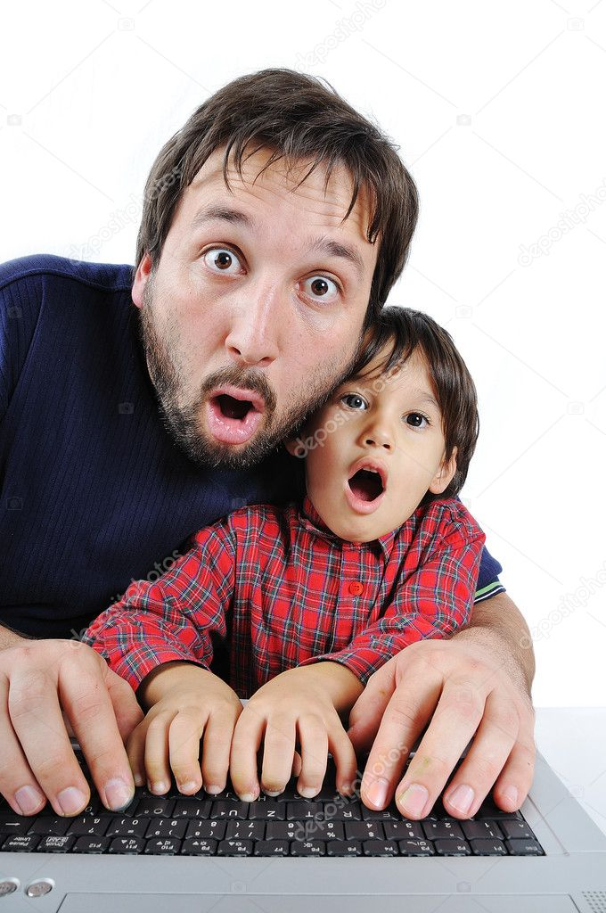 Father and son on laptop, shock — Stock Photo #9992785