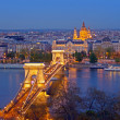skyline de Budapest chain bridge — Foto Stock