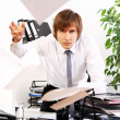 Angry businessman in his office — Stock Photo