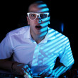 Erd surfing internet at night time — Stock Photo