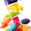 Bottles with spilled nail polish — Stock Photo #8446652
