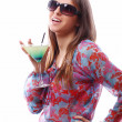 Happy woman with green cocktail — Stock Photo