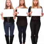 Girls with empty blanks — Stock Photo #8447128