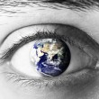 Earth sphere in eye — Stock Photo