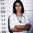 Doctor over  jail background - Stok fotoraf
