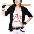Young punk girl with baseball bat — Stock Photo