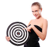 Woman with dart target — Stock Photo