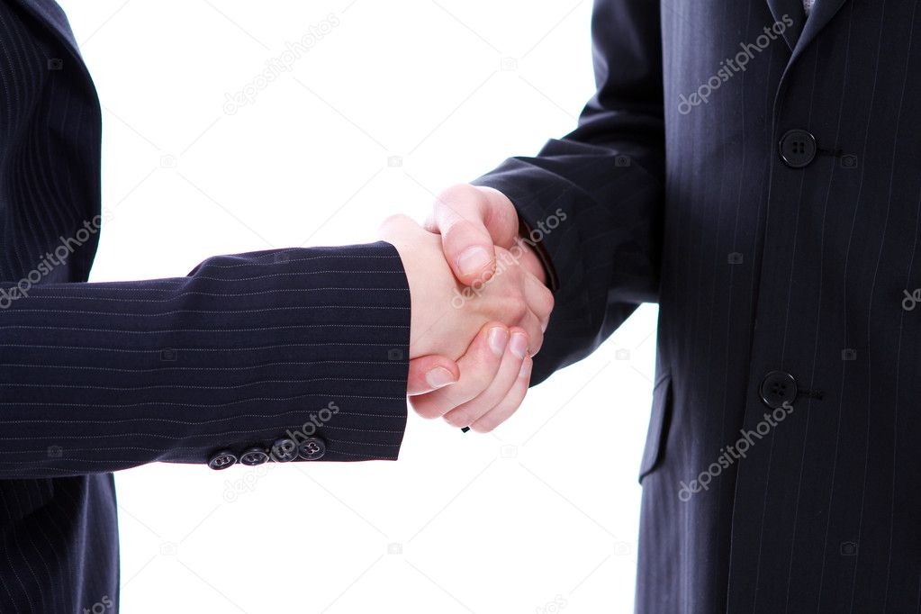 Handshake of two business partners isolated on white — Stock Photo #8447455