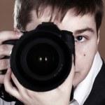 Photographer with camera — Stock Photo