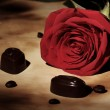 Red rose and chocolate candies — Zdjęcie stockowe