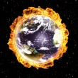 Stock Photo: Earth in fire