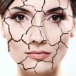 Woman portrait - Dried skin concept - Stock Photo