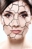 Woman portrait - Dried skin concept — Foto Stock