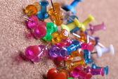 Pins in cork board — Stock Photo