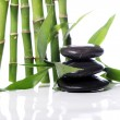 Spa stones and bamboo leaves — Stock Photo