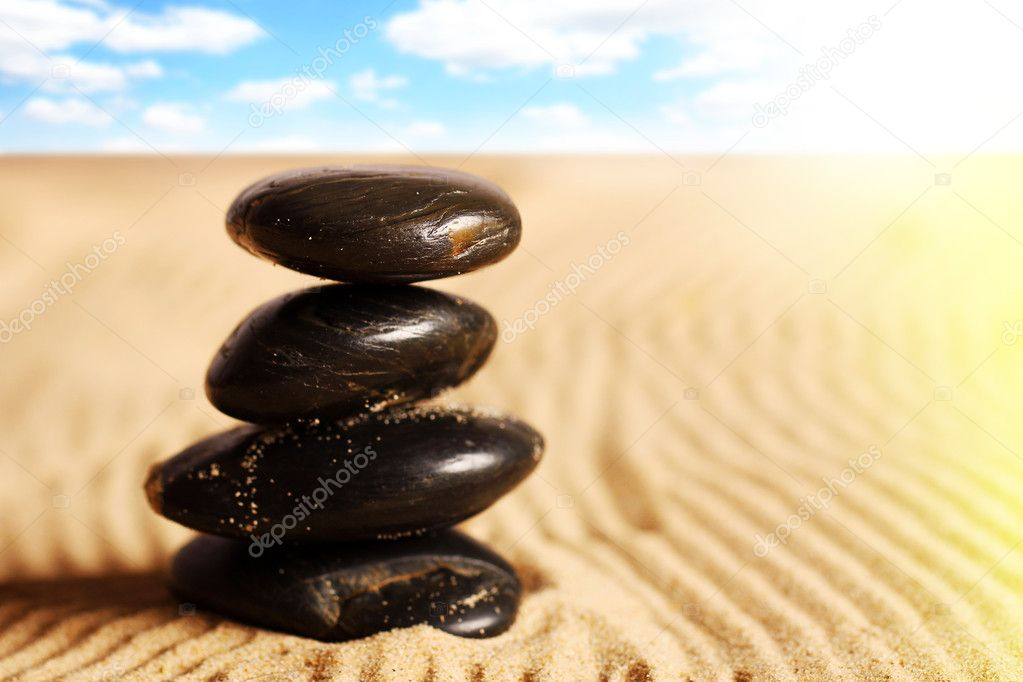 Zen stones on the sand — Stock Photo #9641644
