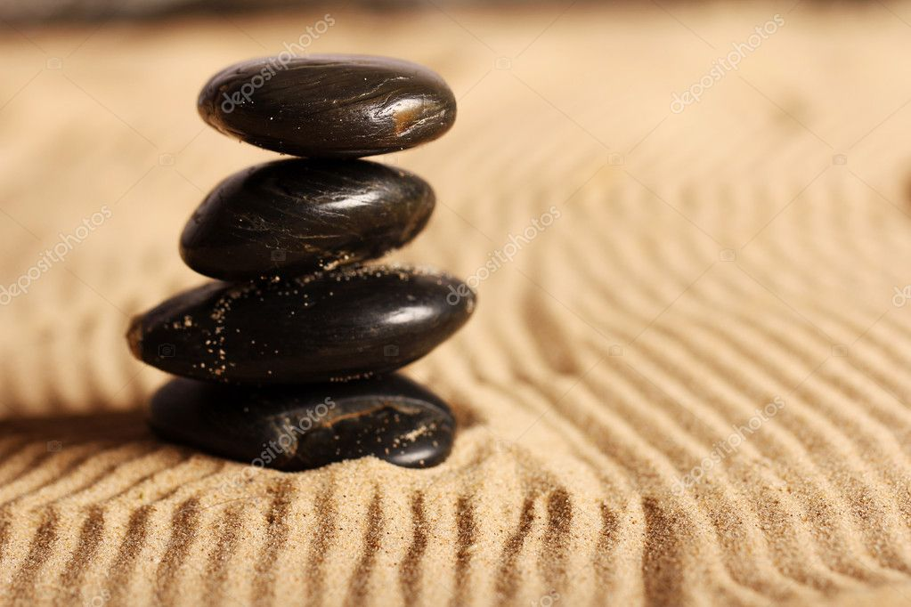 Zen stones on the sand  Stock Photo #9641653