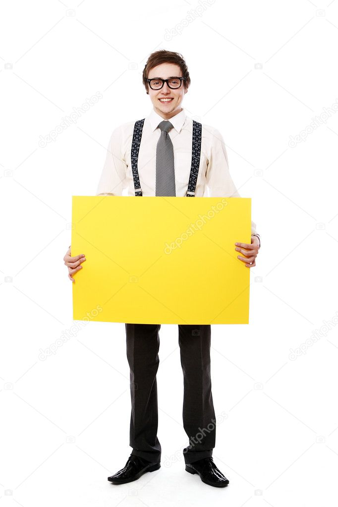 Young and stylish businessman with empty billboard over white background — Stock Photo #9704136