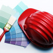 Pantone color palette and roller - Stock Photo