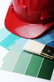 Color pallete and hard hat — Stock Photo