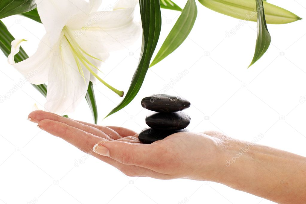 Beautiful spa hands over white background — Stock Photo #9796135