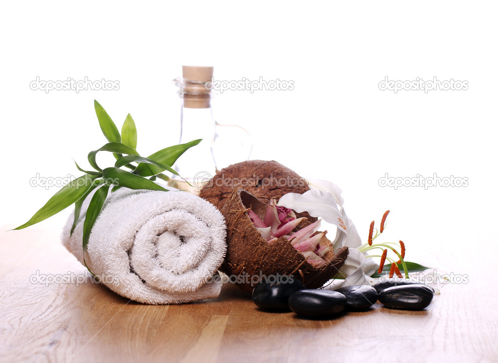Spa and wellness stuff over white background  Stok fotoraf #9796293