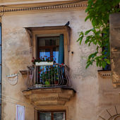 Le balcon avec des fleurs en fleurs — Photo