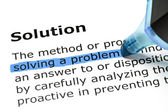 Solving a problem highlighted under Solution — Stock Photo