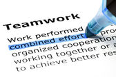 Teamwork with blue marker — Stock Photo