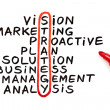 Strategy chart with red marker - Foto Stock