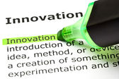 'Innovation' highlighted in green — Stockfoto