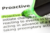'Proactive' highlighted in green — Stock Photo