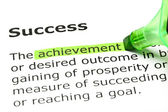 'Achievement' highlighted, under 'Success' — Stock Photo