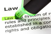 'Law' highlighted in green — Stock Photo