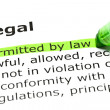 'Permitted by law', under 'Legal' — Foto Stock