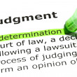 'Determination' highlighted, under 'Judgment' — Stock Photo