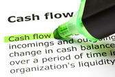 'Cash flow' highlighted in green — Stock Photo