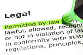 'Permitted by law', under 'Legal' — Stock Photo