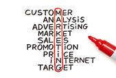 Marketing chart with red marker — Stock Photo