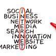 graphique d'Internet avec le marqueur rouge — Photo