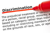 Discrimination underlined with red marker — Stockfoto