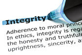 Integrity highlighted in blue — Stock Photo