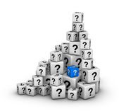 Pile of dices with question marks — Stock Photo