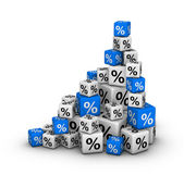 Stack of boxes with percent sign — Stock Photo