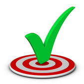 Check mark and target — Stock Photo