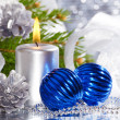 Blue christmas balls and silver candle — Stock Photo #10184906